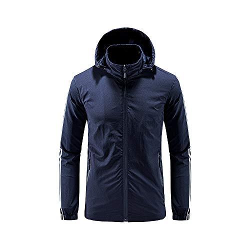 iMixCity Chaqueta cortavientos con capucha para mujeres y hombres Abrigo impermeable unisex transpirable de secado rápido al aire libre (XL, Hombres - Azul Marino)