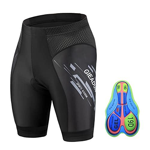 GIEADUN Pantalones Cortos de Ciclismo Hombre Pantalón Corto para Hacer Ciclismo 4D Gel Ropa Interior de Bicicleta MTB Acolchado Pantalónes Cortos Antideslizantes y Transpirables
