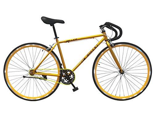 Wizard Industry Helliot Soho 5305 - Bicicleta Fixie, Cuadro de Acero, Frenos V-Brake, Horquilla Acero y Ruedas de 26', Color Amarillo