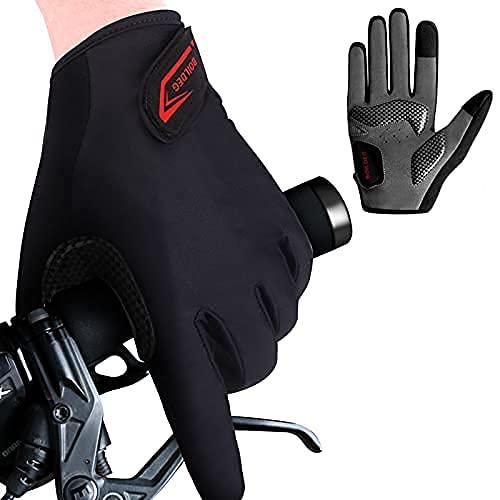 Guantes Ciclismo, Guantes Bicicleta,Guantes MTB Degradado Reflexivo Medio-Dedo Acolchado Antideslizante Transpirable para Hombres Mujeres (Dedo Largo Negro sólido, XL)