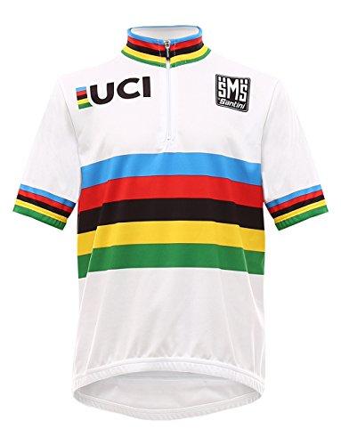 Santini Replica UCI World Champion - Jersey de manga corta para niños, color Blanco, talla 13 años*