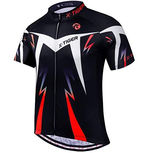 X-TIGER Camisetas de Ciclismo para Hombre,Camiseta Corta, Top de Ciclismo, Jerseys de Ciclismo, Ropa de Ciclismo, Mountain Bike/MTB Shirt, Transpirable y Que Absorbe El Sudor,Secado Rápido (XL,Rojo)
