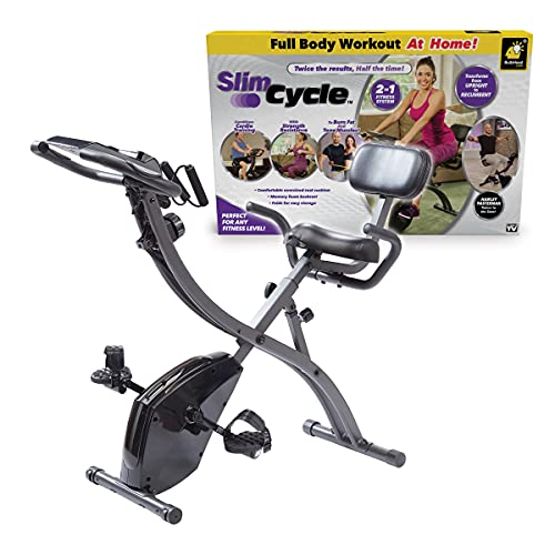 Bicicleta estática plegable, de interior, con bandas de resistencia para brazo y monitor cardíaco,...*