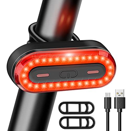 Luz Bicicleta Trasera LED 6 Modos de Iluminación Luz de Bicicleta Recargable USB Linterna Batería...*