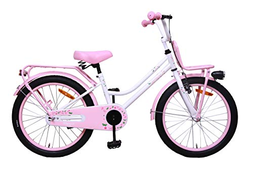 Amigo Magic - Bicicleta Infantil de 20 Pulgadas - para niñas 5 a 9 años - con V-Brake, Freno de Retroceso, portaequipajes Delantero, estándar, Timbre y iluminación - Blanco