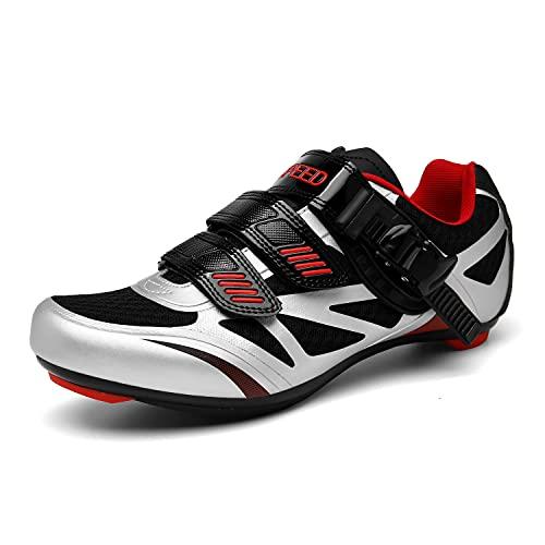 Zapatillas de Ciclismo Zapatillas MTB para Hombre Zapatillas de Bicicleta de Carretera Zapatillas de Ciclismo Deportivas Completas Zapatillas de Ciclismo de Carretera Silver-1 38