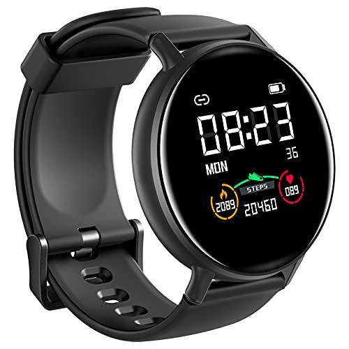 IOWODO Smartwatch Hombre Mujer con Oxímetro(SpO2), Reloj Inteligente Impermeable con Notificación de Mensajes Esfera Personalizada Pulsometro Sueño ,Pulsera Actividad Inteligente Para IOS Android