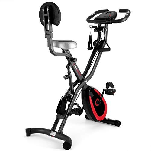 Ultrasport F-Bike 400BS Bicicleta estática Plegable, tracción, Pantalla y App, con Respaldo/Cuerdas & App, Unisex, Mate Negro