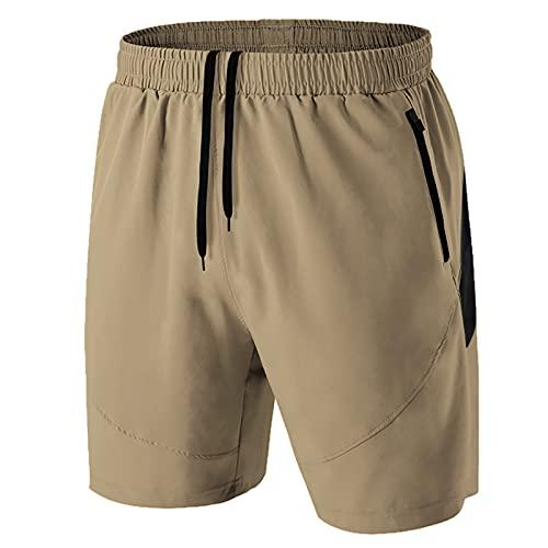 Pantalones Cortos Hombre Running Transpirable Shorts Deportivos Secado Rápido Pantalón Correr con Bolsillo con Cremallera(Caqui,EU-2XL/US-XL)