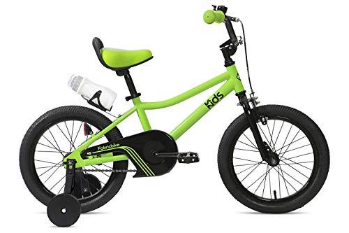 FabricBike Kids - Bicicleta con Pedales para niño y niña, Ruedines de Entrenamiento Desmontables, Frenos, Ruedas 12 y 16 Pulgadas, 4 Colores (Light Green, 16': 3-7 Años (Estatura 96cm - 120cm))