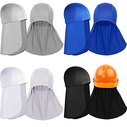 4 Forros de Casco con Solapa de Cuello Gorros de Calavera de Enfriamiento Gorro de Absorber Sudor con Cola de Sombrilla para Casco de Seguridad Ciclismo Sombrero de Protección de Cuello