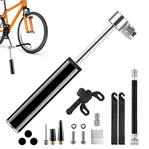ASANMU Bomba de aire bicicleta Mini, Bomba para Bicicleta Portátil, inflador bicicletas, 120 PSI con Válvulas Presta y Schrader, Duradera y Rápida, para Bicicleta MTB, BMX, Motocicleta, Pelota