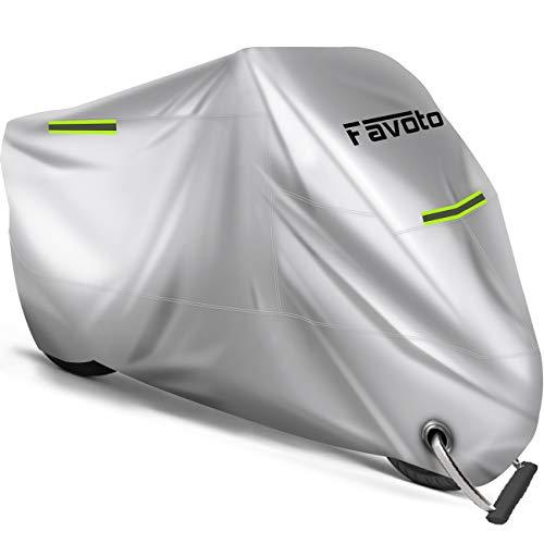 Favoto Funda para Moto Cubierta de la Motocicleta 210D Oxford Sellado Térmico de Costura a Prueba de Polvo Lluvia Viento Hojas Excrementos de Aves al Aire Libre XXL 245cm Plata