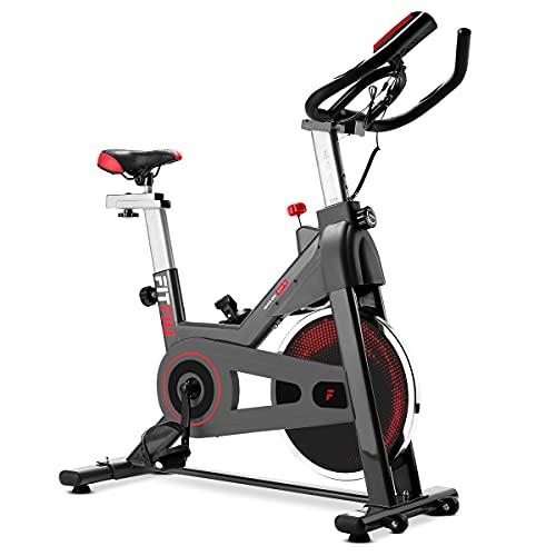 FITFIU BESP-70 - Bicicleta Indoor con disco inercia 13kg, manillar con Pulsómetro, sillín deportivo, múltiples niveles de resistencia y pantalla LCD, Bici cardio Entrenamiento Fitness