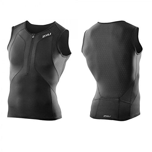 2XU Camiseta de triatlón para Hombre Perform Compression Tri Singlet, Hombre, MT3100a, Blk/Blk, Small