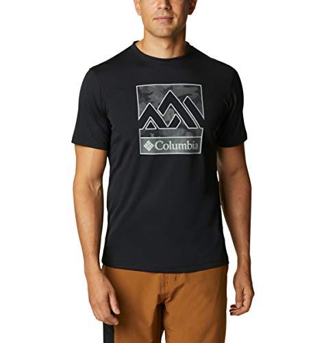 Columbia Zero Rules Camiseta técnica con Estampado de Manga Corta, Hombre, Negro (Black), L