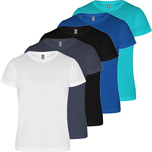 13MW Camiseta técnica Hombre | Pack 5 | Tejido técnico para Deporte | Transpirable | Running, Fitness, Fútbol, Padel (Combinación 5, L)