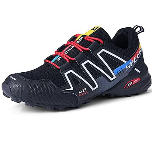 CHUIKUAJ Calzado de Ciclismo para Hombre Calzado de Ciclismo Indoor Sin Candado,Zapatos de Ciclismo de Bicicleta de Montaña Impermeables,Black-41EU