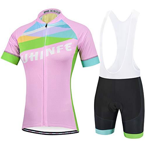 Traje Ciclismo Mujer Verano, Transpirable y elástico Maillot Ciclismo y Pantalon para MTB, Ropa Ciclismo para Bicicleta de Carretera, Rosa, S