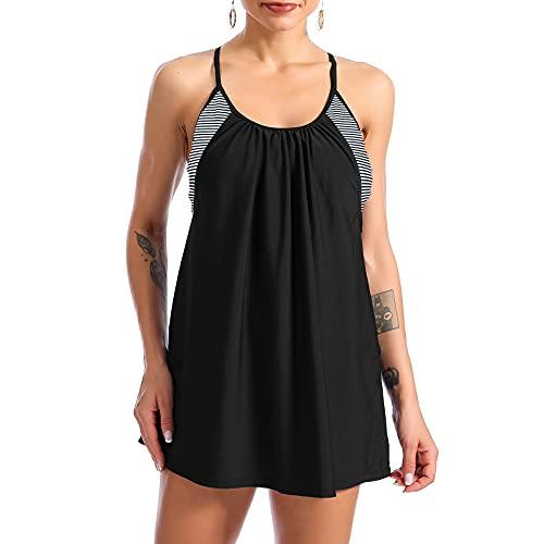 Durio Tankini para mujer, tankini, para el abdomen, top bandeau con pantalones cortos, Rayas blancas y negras., 38-40