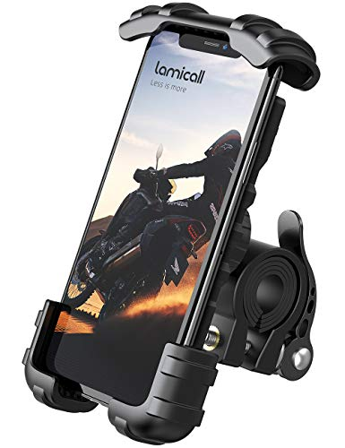 Lamicall Soporte Movil Bicicleta, Soporte Motocicleta - Rotación 360° Soporte Manillar para iPhone 12 Mini, 12 Pro Max, 11 Pro, XS Max, X, XR, 8, 7, 6S, Samsung S10 S9 S8, Huawei, 4.7-6.8' Smartphones