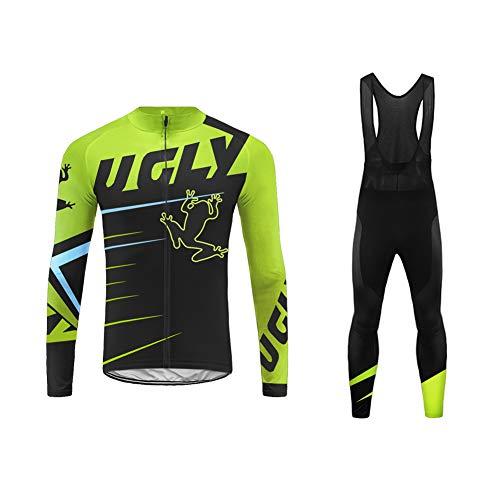 UGLY FROG Bike Wear Designs Maillots de Bicicleta Maillots de Bicicleta Traje de Invierno Hombres Ropa de Ciclo Jersey de Manga Larga + Pantalones Bib Acolchados Cómodo