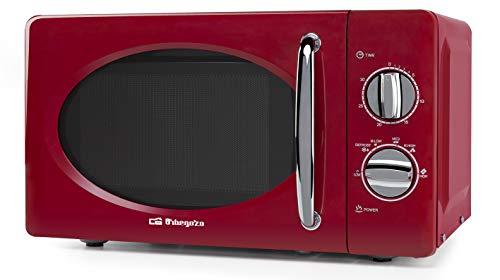 Orbegozo MI2020 Microondas con 20 litros de Capacidad, 6 Niveles, Temporizador hasta 30 Minutos, diseño Vintage, 700 W de Potencia, Acero, Rojo