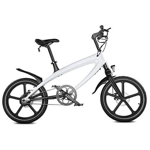 Bicicleta eléctrica Bicicleta eléctrica de 20 pulgadas para adultos con 36 V Batería de iones de litio Medidor inteligente Bluetooth Audio Marco de aleación de aluminio Motor potente de 250W,White