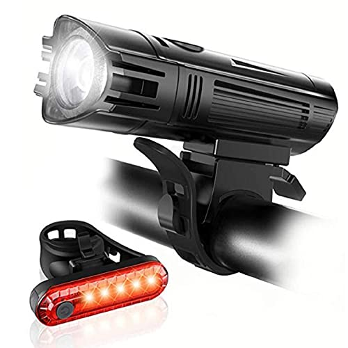 Leytn Luz Bicicleta Recargable USB, LED Luces Bicicleta Delantera y Trasera Impermeable,4 Iluminación Modos Luz para Bicicleta Delantera para Carretera y Montaña Actividades de Ciclismo al Aire Libre