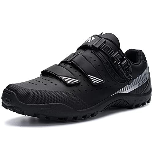 URDAR Zapatillas de Ciclismo MTB Hombre Bicicleta Calzado de Montaña Respirables Antideslizante Calzado Ciclismo(Negro,43 EU)