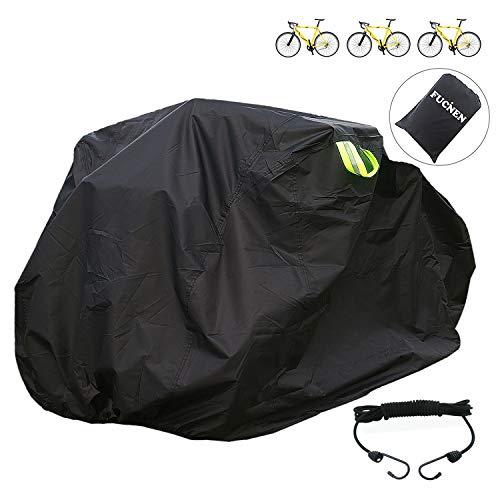 FUCNEN - Funda grande para bicicleta para 2 3 bicicletas, tela Oxford 210D, antipolvo, lluvia, protección UV, para bicicleta de montaña o de 3 ruedas