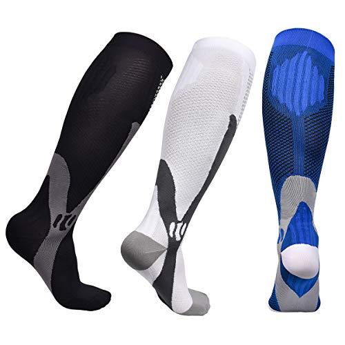 Miavogo 3 pares de medias de compresión para hombre, calcetines de compresión con esquema de color clásico 20 – 30 mmHg Calcetines de compresión Medias de trombosis