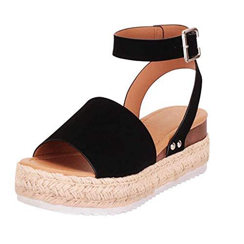 Sandalias Mujer Verano 2019 cáñamo Fondo Grueso Sandalias Punta Abierta Cuero Fondo Plano Zapatos...*