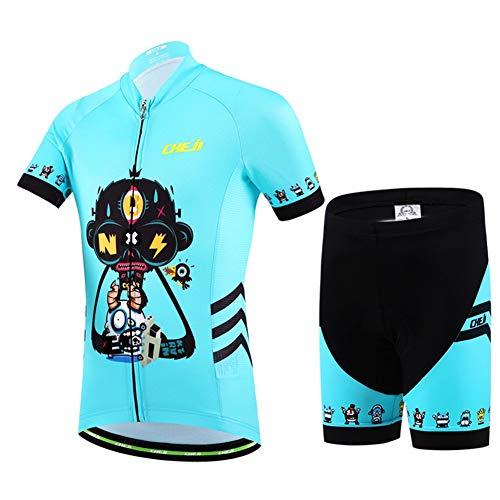 Baotung Maillot de ciclismo para niños, camiseta de manga corta y pantalón de ciclismo con almohadilla para el asiento, diseño de dibujos animados, talla 116 (etiqueta M)