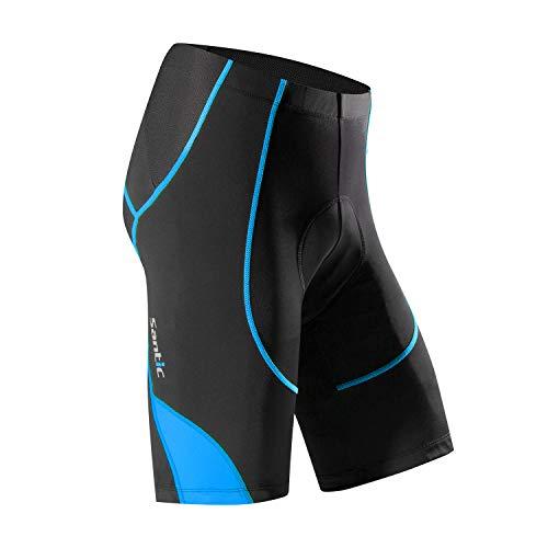Santic Pantalon Ciclismo Hombre Corto Pantalones Bicicleta Hombre Montaña/MTB Acolchado con Badana/Almohadilla Azul EU M