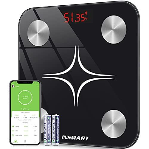 Báscula Grasa Corporal Báscula de Baño Bluetooth, INSMART Wireless Báscula Baño Digital Analizar Más de 13 Funciones, Monitores de Composición Corporal Máximo 180kg para Andriod y iOS (Negro)