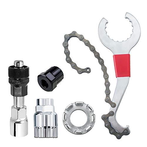 Herramienta para reparación de cassette de bicicleta, multifunción, compatible con látigo de cadena, pedales, extractor de piñones, extractor de piñones, extractor de bielas y llave de radios