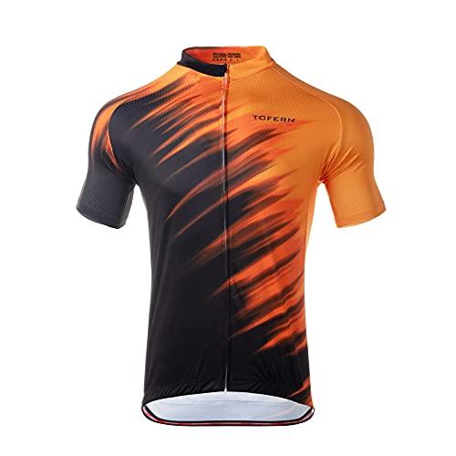 Tofern Maillot de ciclismo de manga corta con 3 bolsillos traseros, camiseta de ciclismo para hombre, de secado rápido, Naranja y negro., XL