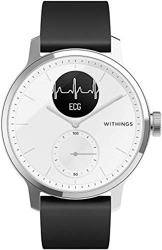 Withings ScanWatch - Reloj inteligente híbrido con ECG, tensiómetro y oxímetro, Blanco, 38 mm