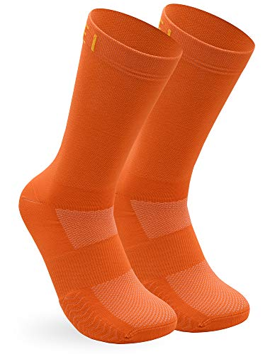 NORTEI Calcetines Naranjas para Ciclismo, MTB y Running de Caña Alta para Hombre y Mujer – Infinity Orange (L (43-45))