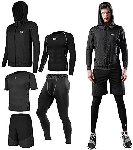 Lachi Juego de 5 piezas de entrenamiento para hombre ropa de gimnasio para correr