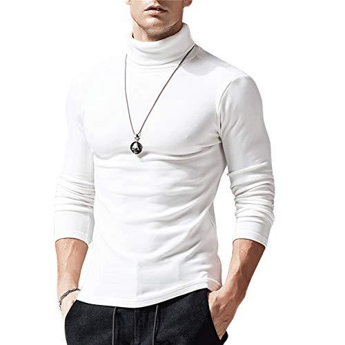 Camiseta para Hombre Sudadera de Manga Larga Cuello Alto de Color Sólido Casual Delgado Suave Cómodo