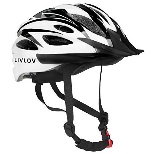 LIVLOV Casco Bicicleta Unisex Adulto Unisexo Ajustable 56-62 cm con Visera y Forro Desmontable Especializado para Ciclismo de Montaña Motocicleta (Negro-Blanco)