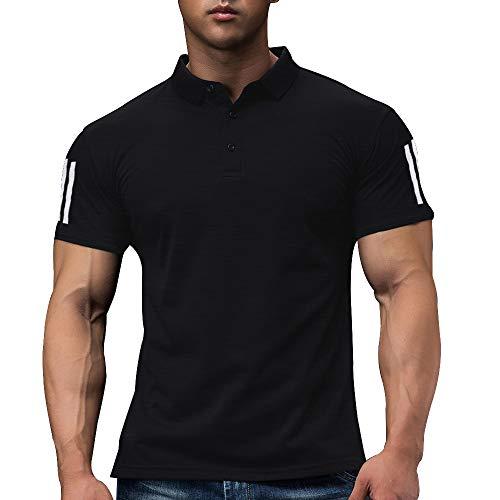 Hombres Polo De Golf De Manga Corta para Correr Casual De Secado Rápido, Camiseta De Entrenamiento Atlético Color Black Size S