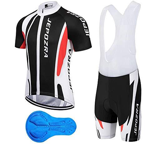 JEPOZRA Maillot Ciclismo Corto De Verano para Hombre, Respirable Secado Rápido Ciclo Jersey de Manga Corta + 4D Almohadilla De Gel Culote y para Bicicleta MTB Ciclista Bici