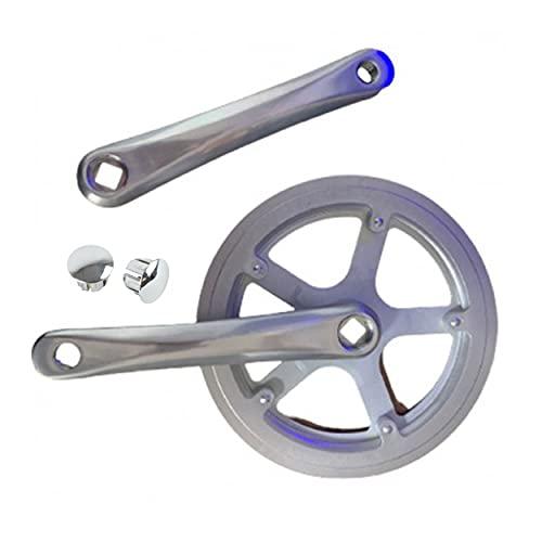 Biela de Bicicleta con Protector/Biela y contra-biela de Bicicleta Incluye 2 Tapones/Biela Bicicleta de 44 Dientes/Biela de 1 Plato (monoplato)