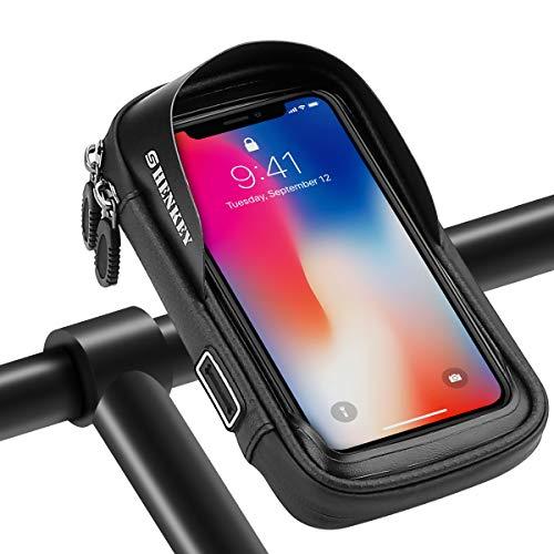 SHENKEY Bolsa para manillar de bicicleta, soporte para teléfono de bicicleta con pantalla táctil impermeable, marco impermeable para bicicleta, soporte para teléfono inteligente de hasta 16,5 cm