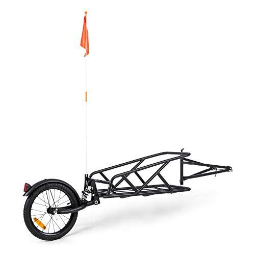 Klarfit Follower - Remolque para bicicleta, Superficie de carga: 35,5 x 25,5 x 65 cm, Carga máx. 35 kg, Estructura de acero, 1 rueda, Rueda de 16 pulgadas, Amortiguación dinámica, Reflectores, Negro