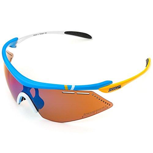 Briko Endure Pro Team 2 Lenses Gafas, Hombre, 952 Azul Wht YLW-PM3P1, Talla única
