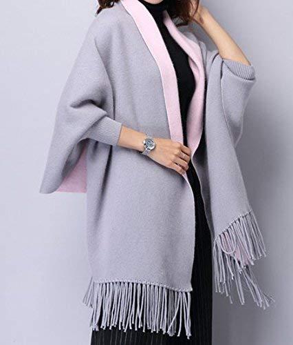 Mujeres Cachemira Poncho Rebeca Suéter de punto Abrigo Chal para el invierno   Bufanda Sobredimensionada Poncho con mangas en gris de la marca MyBeautyworld24